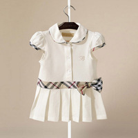 2014 New British Style Plaid Print and Bow Waist Girls Dresses 100% Cotton Kids  party dress Children Fashion Princess Dress