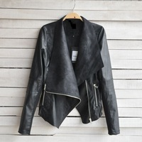 2014 Real Top Fasion Zippers Regular Solid Fashion Leather Clothing Female Design Slim Coat Pu Jacket Women S/m/l Size Shipping