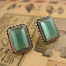 Free Shipping 10 mix order New Fashion Vintage Beautiful Opal Rectangle Stud Women Earrings Green E29