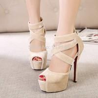 summer thin high heels peep toe  female ultra-high  nightclubs high platform sexy ankle-wrap and zipper women pumps