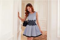 new arrival Women's 2014 spring slim lace patchwork short dress sleeveless vest gentlewomen one-piece dress lady's cotton dress