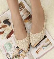 New 2014 sexy lace fashion heel women flats shoes and women's spring summer single flat shoes,35-39