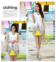 New Fashion 2014 Summer Women Korean Ladies Round Neck Sleeveless Vest Bottoming Slim Flower Print Dress For Women, WD0078