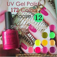 Wholesale Nail Art glue Soak Off LED/UV gel nail polish 172 Colors 10ml 12 Pcs/Lot (10colors+1 base+1 top coat)