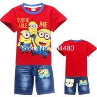 new 2014 minions children clothing sets fashion spring summer short sleeve kids boys t shirt+jeans shorts set