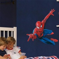 free shipping cartoon spiderman wall stickers for kids room zooyoo1937 removable movie wall decals home decorations