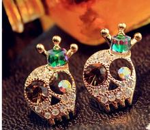 18KG Plated Fashion Korean Punk Skull Shiny Cystal Gem Crown Skeleton18KGP Stud Earrings E3273