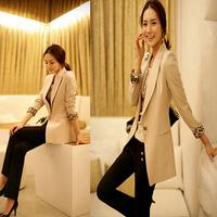New 2014 black & beige Plus size clothing elegant slim blazer women's medium-long small suit jacket female Drop Free shipping
