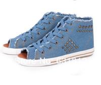 new 2014 women Sneakers High breathable shoes open toe shoe rivet women denim casual canvas shoes