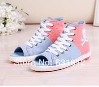 new 2014 women Sneakers High canvas open toe shoe colorant match fashion canvas shoes casual shoes women denim