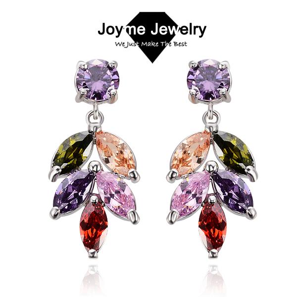 Joyme brand 2014 New design Swiss Zircon Dangle Earrings exaggerated Austrian Crystal drop Colorful earrings Drop Earrings(China (Mainland))