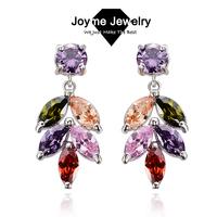 Joyme brand  2014 New design Swiss Zircon Dangle Earrings exaggerated Austrian Crystal drop Colorful earrings Drop Earrings