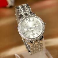 Hot Rhinestone Dress Watch For Women Fashion Quartz Clock Ladies Casual Watches Luxury Brand Full Steel Wristwatches  New