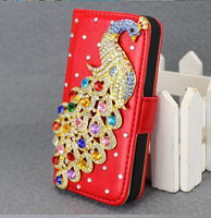 Hot Sale New Fashion For iphone 5 Bling Peacock Flip Leather Stand Wallet Diamond Case Cover Free Shipping