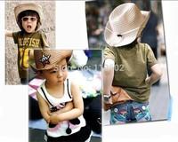Children Straw Braid Cowboy Sun Hat Boy Girl Cap Star Applique Topee hv3n