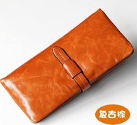 Free shipping Genuine Leather women's Long section of the multi-card wallets zipper black and brown solid  1028 without Logo