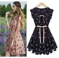 Fashion New Women Spring 2015 Casual Women Vintage Chiffon Dresses Short/Mini Beach Dress Girl Print Dress Brand Summer Vestidos