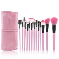 15 Pcs Vegan Brush Makeup Kit Make-up For You Pink Professional Synthetic Hair Cosmetic Brush Set Belt
