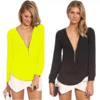 S-XXL 2014 New Arrived  High Quality  Women Long Sleeve Blouse Brand Women Deep V-Neck Blouse Nice Design Women Chiffon Blouse