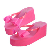 New arrival 2014 bow flip flops female beach ultra high heels slippers flip platform for women beach slipper free shipping