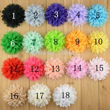 18 color alternative big chiffon hair flower 10cm headband flowers no clips flat back free shipping 20pcs/lot FH03(China (Mainland))