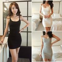 2015 Summer New Sexy Women Thin Spaghetti Strap Super Mini Bottoming Dress, White, Gray, Navy Blue, Black, S, M, L, XL, XXL