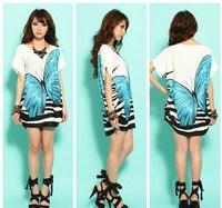 2014 Summer New Casual Women Thin Rayon Butterfly Print Short Sleeve Straight Dress Vestidos, Blue, Purple, Hot Pink, Size Free
