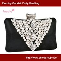 Pearl beads rhinestone brooches clutch -  hard case box clutch - evening bag