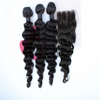 Queen Hair Products Brazilian Virgin Hair Deep Wave 3pcs Human Hair Weave with 1pc 3-part Lace Top closure DHL UPS Free 4pcs lot