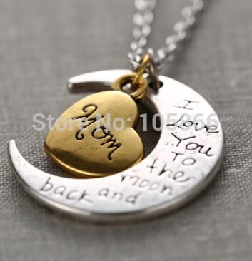 Lovers Necklace Two Toned Antique Silver Gold Flashed Heart Family Members I Love You To The