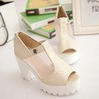 2014 summer wedges high-heeled open toe platform zipper platform shoe rivet all-match net fabric female sandals,SHO2104