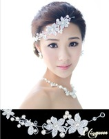 2014 New Exquisite Bridal Hair Jewelry Fashion Korean Style Pearl Crystal Flower Tiara Wedding Jewelry Hair Accessories DHJ002