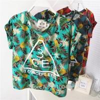 new 2014  Hawaii    women character design  pineapple coconut leaf print crop top / short sleeve T-shirt women / tops for women