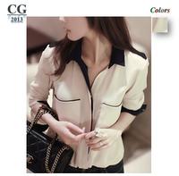 2014 New Casual Fashion Women Top Button Shirt Chiffon Blouse Office OL Shirts Sheer Tops S M L XL Plus Size Freeshipping#CGS015