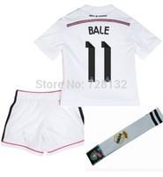 Gareth Bale #11 Real Madrid home white Kids full set, Boys jersey Uniforms,14-15 Children Soccer Shirt kits Socks Gift Kit