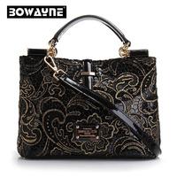New 2015 High quality Top Fashion Luxury Women's handbag Patent Leather Lace Bag Genuine Leather Women Messenger/cross-body Bag