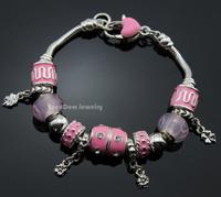 Pink European Murano Glass Beads Lucky Clover Flower Pendant CZ Stone Charms  925 Silver Pulseira Bracelet + Gift Pouch PB307-1