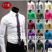 Men's Shirts 17 Colors Slim Fit Casual Blouse Unique Neckline Stylish Turn-down Collar Long Sleeve Shirt Men Clothing M-6492