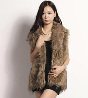 Wave stripe sleeveless turn-down collar fur vest haoduoyi