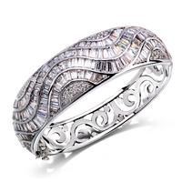 CZ Cubic Zirconia Bangle Lady Luxury Big Irregular Cut Stones Design Classic Rhodium Fine Jewelry Fashion New Setting - VC Mart