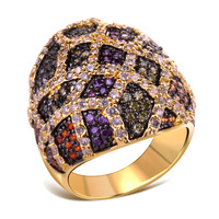 CZ Cubic Zirconia Finger Ring Latest Model Special Colour Multi Lady Punk Big Thick Gold Square Pattern Top Quality - VC Mart