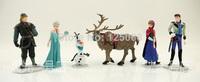 2014 new Frozen princess Figure Play Set Anna Elsa Hans Kristoff Sven Olaf 6pcs/set cartoon action figure kids Birthday Gifts
