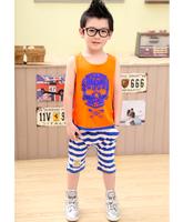 free shipping children's summer clothing set skull baby boy's T-shirt sleeveless vest capris set