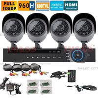 4CH Full D1 960H security camera System 4 channel HDMI 1080P HVR NVR CCTV DVR 800TVL Waterproof camera KIT Surveillance System