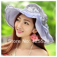 2014 New arrive Hat female summer sun hat folding anti-uv sunbonnet female beach cap sun hats