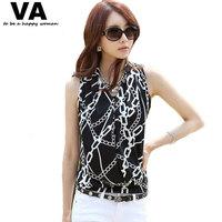 women's t shirt womens tops summer plus size 4XL XXXL XXL Black White V-neck Sleeveless chiffon print clothing 2015 blusas