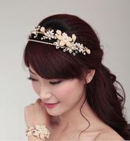 Luxury Handmade Golden Crystal Pearl Bridal Headband Headpiece Rhinestone Wedding Hair Accessories Ornament For Bride WIGO0239