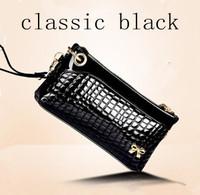 Feminina 2014 Carteiras Women Classtic Black Genuine Leather Crocodile Wallet Clutch Purse Evening Bag Handbag Ladies'  Wallets