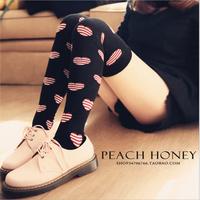 Free Shipping Korean Style All Knitting Over Knee Stockings Cute Girl Heard Shape Soft Rolling Legger Stockings B022