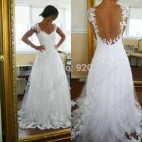 2014 New Elegant Sexy Sweetheart A Line Vestido de noiva Lace Appliques Court Train Wedding Dress Fashion Backless Bridal Gowns